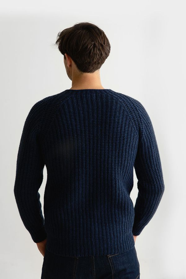 mens fisherman rib navy blue jumper sweater geelong lambs wool