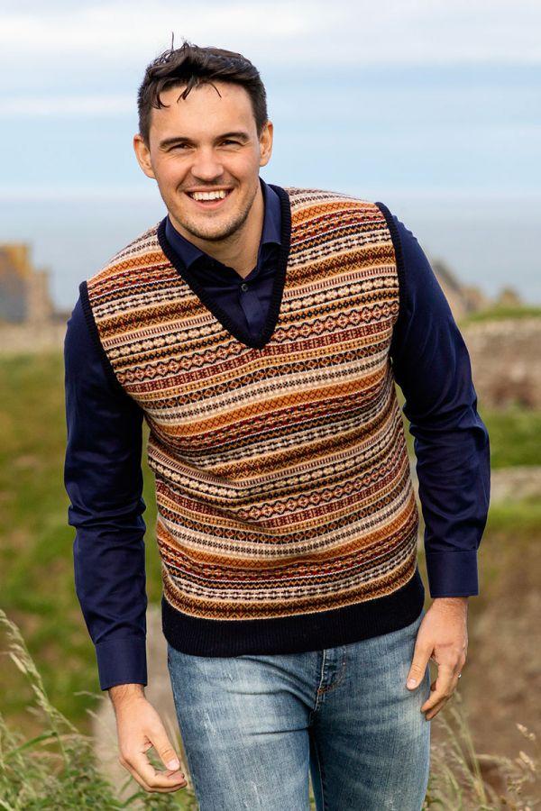 Mens fair isle sleeveless jumper sweater vest. navy blue gold. slipover tank top
