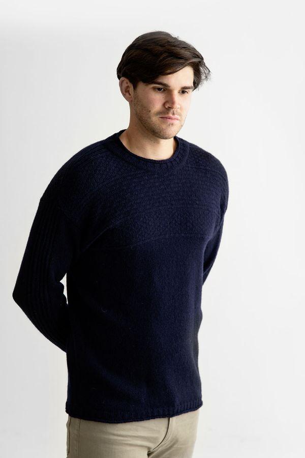 Mens navy shetland wool gansey jumper guernsey sweater blue