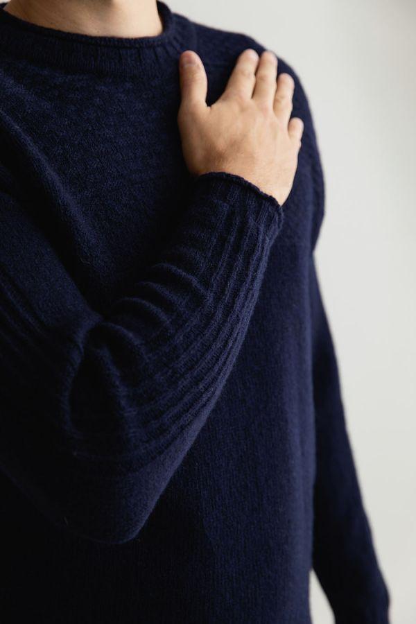 Mens wool navy blue gansey guernsey jumper sweater breakwater
