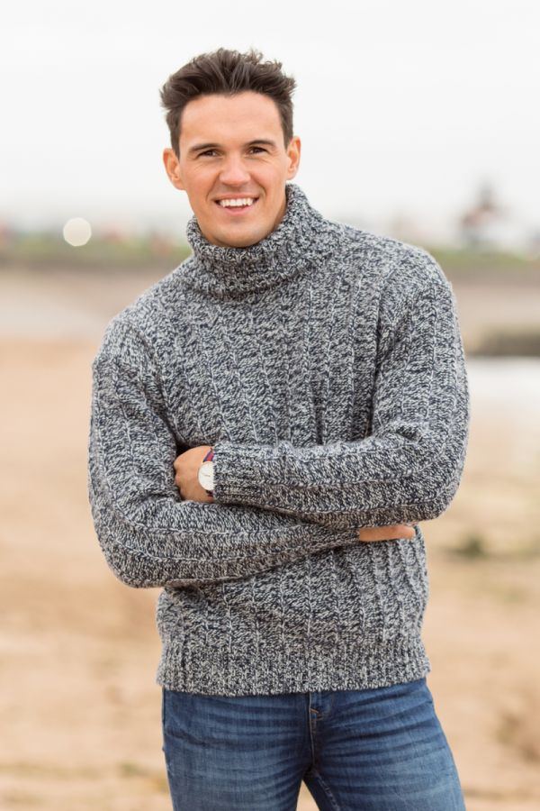 Mens blue needle rib polo neck jumper sweater - lifestyle