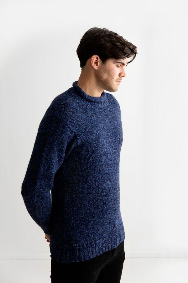 mens blue navy marl roll neck jumper sweater wool