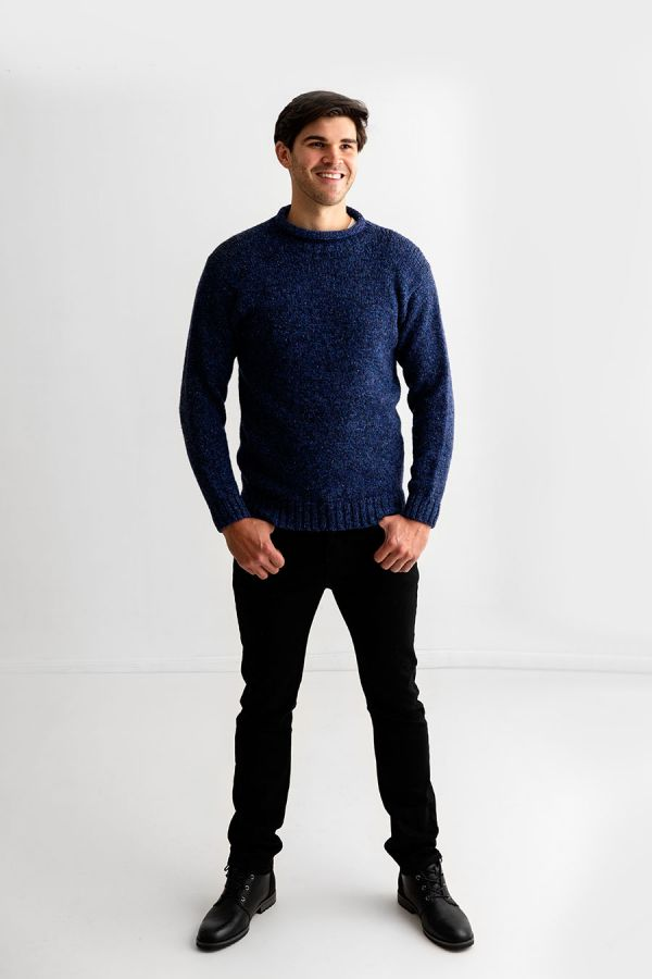 mens chunky wool blue roll neck sweater jumper