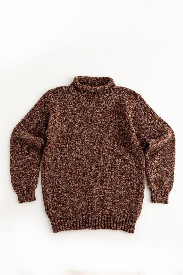 mens rust chunky wool roll neck jumper sweater autumn
