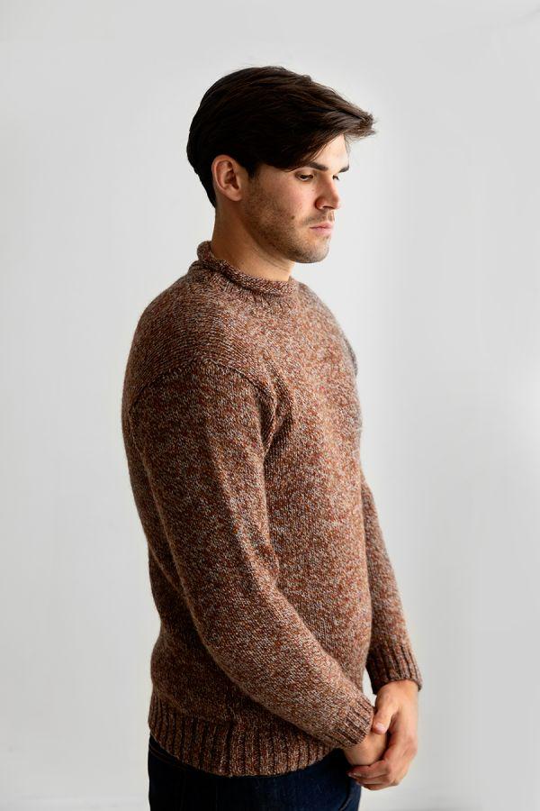mens rust chunky wool jumper sweater roll neck