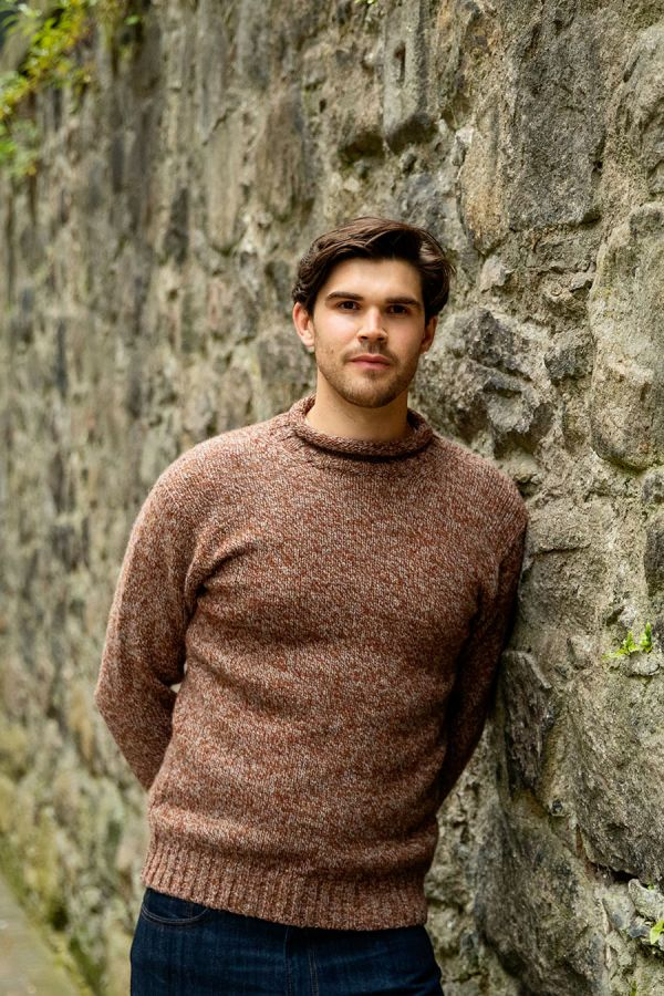 mens autumn rust marl wool jumper sweater roll neck