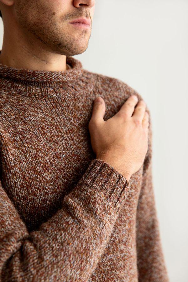 mens rust marl chunky wool jumper sweater autumn