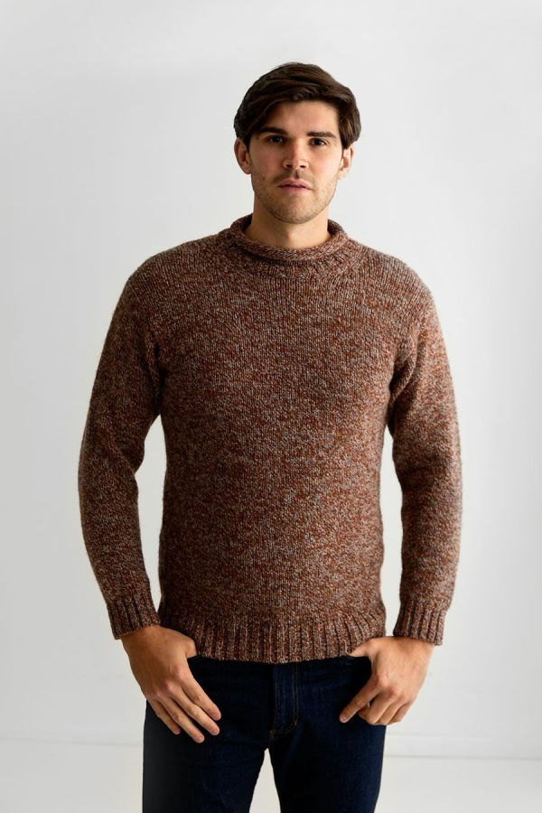 mens rust wool jumper sweater chunky roll neck autumn