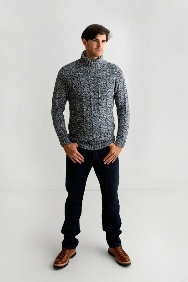 mens scottish wool blue polo neck jumper turtle sweater needle rib