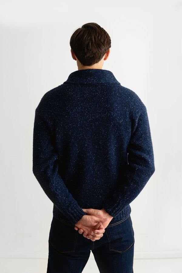 Mens wool shawl collar jumper sweater blue chunky
