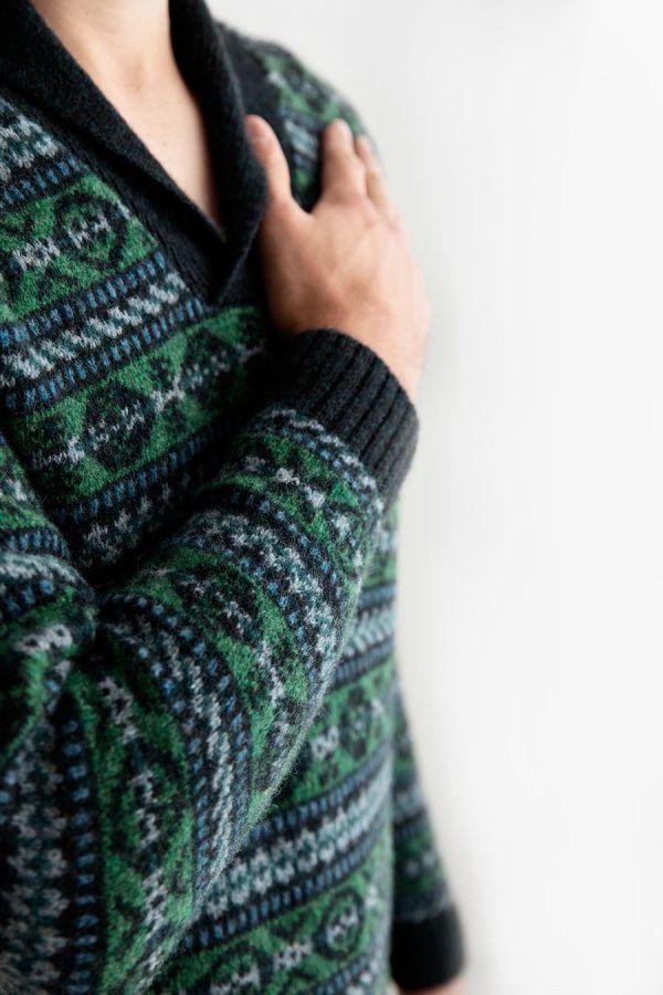 mens green blue shetland wool fair isle jumper sweater Lerwick