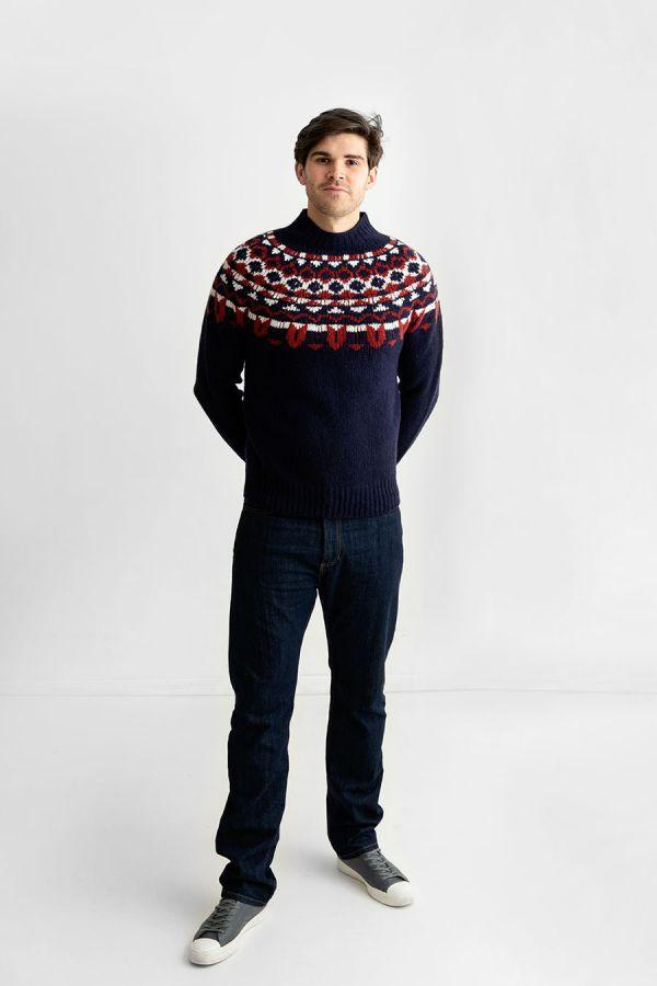 mens navy blue red fair isle chunky jumper sweater brodgar yoke wool