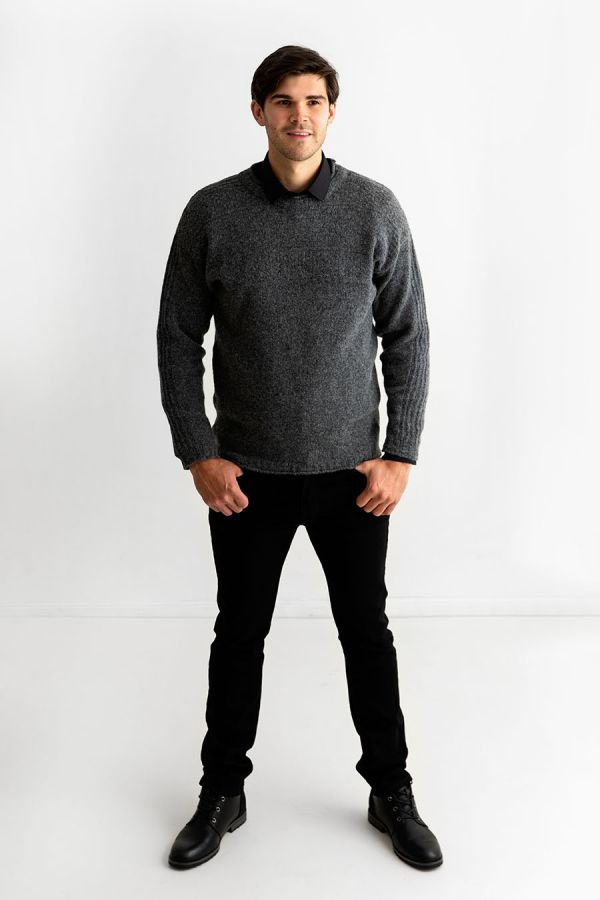 Mens grey wool gansey jumper guernsey sweater