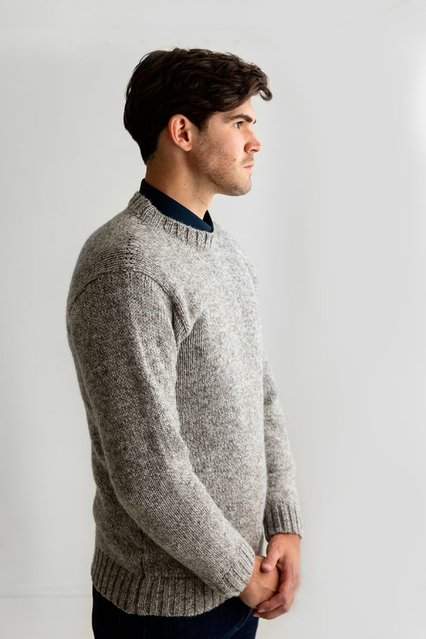mens chunky wool crew neck jumper sweater natural undyed light brown