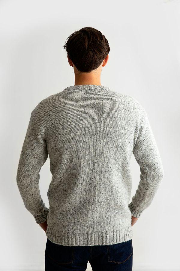 mens wool crew neck chunky jumper sweater light grey back
