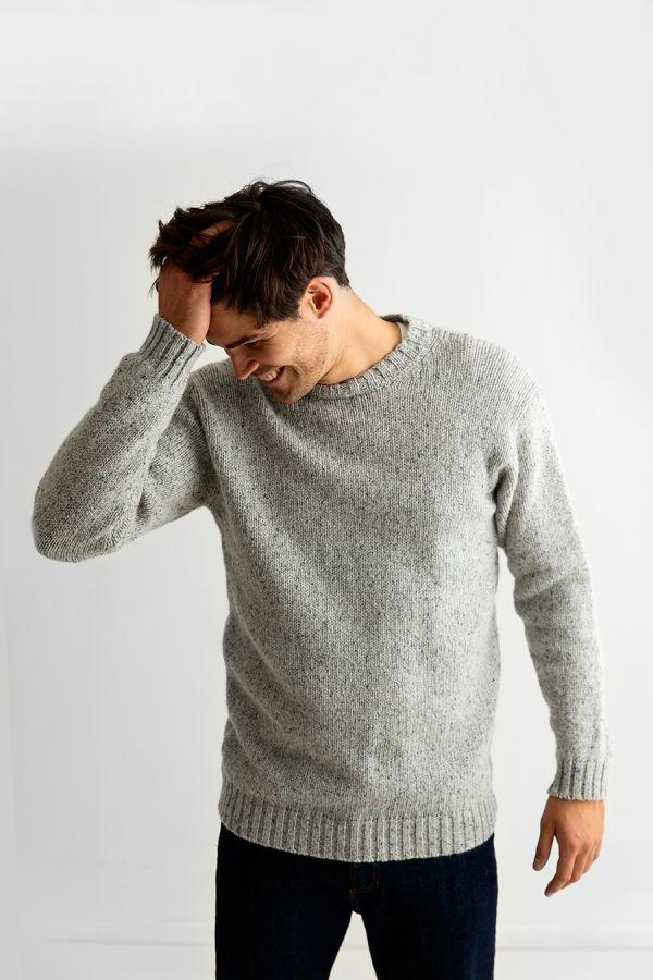 mens wool crew neck chunky jumper sweater light grey limestone