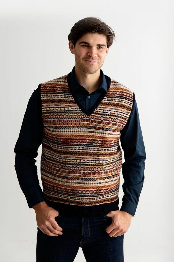 mens fair isle sleeveless jumper sweater vest slipover tank top navy gold