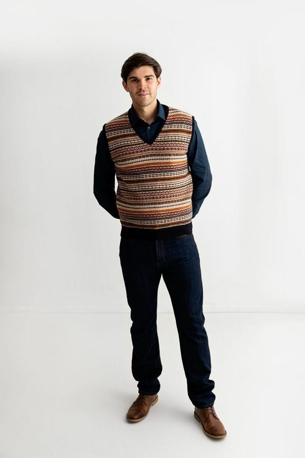 mens fair isle sweater vest slipover tank top sleeveless jumper navy gold