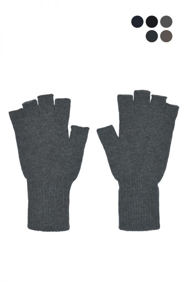 Mens wool fingerless gloves 5 colours. Scottish lambswool