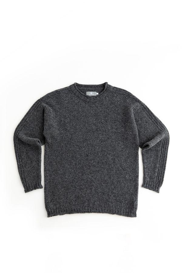 mens gansey jumper sweater wool grey gray scottish breakwater