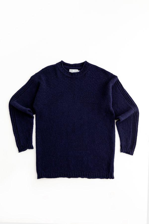 mens gansey jumper sweater wool navy blue scottish breakwater