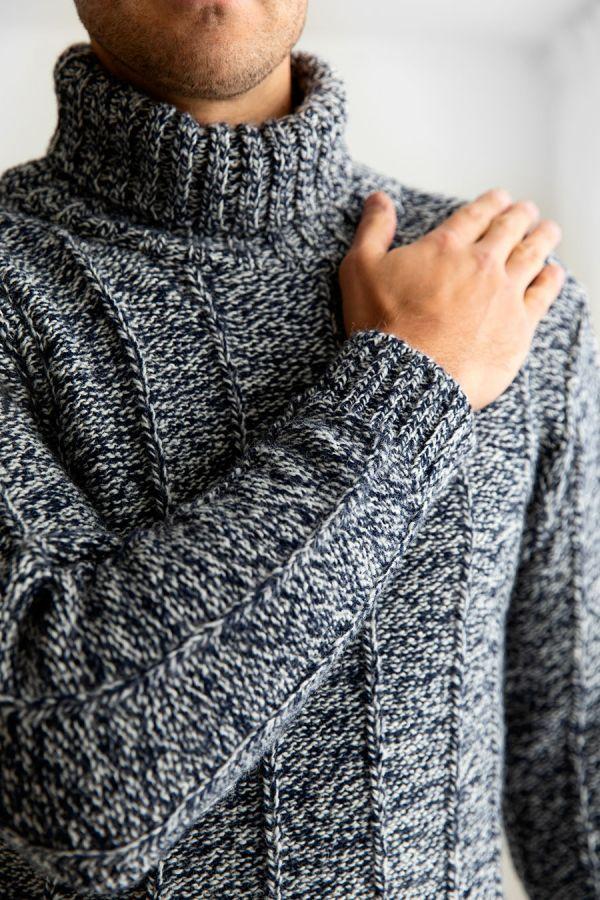 mens scottish wool needle rib polo neck jumper sweater