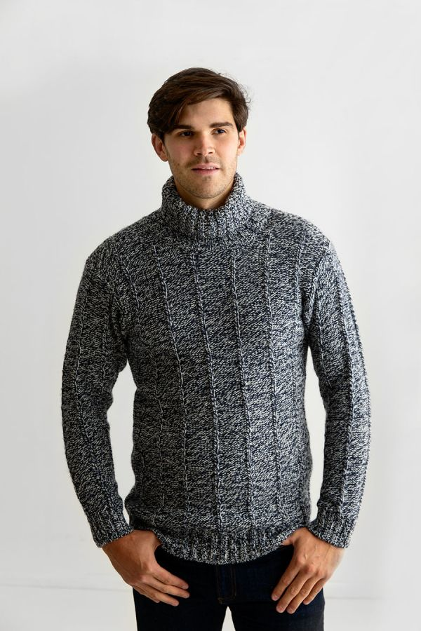 mens wool polo neck jumper turtle sweater blue needle rib
