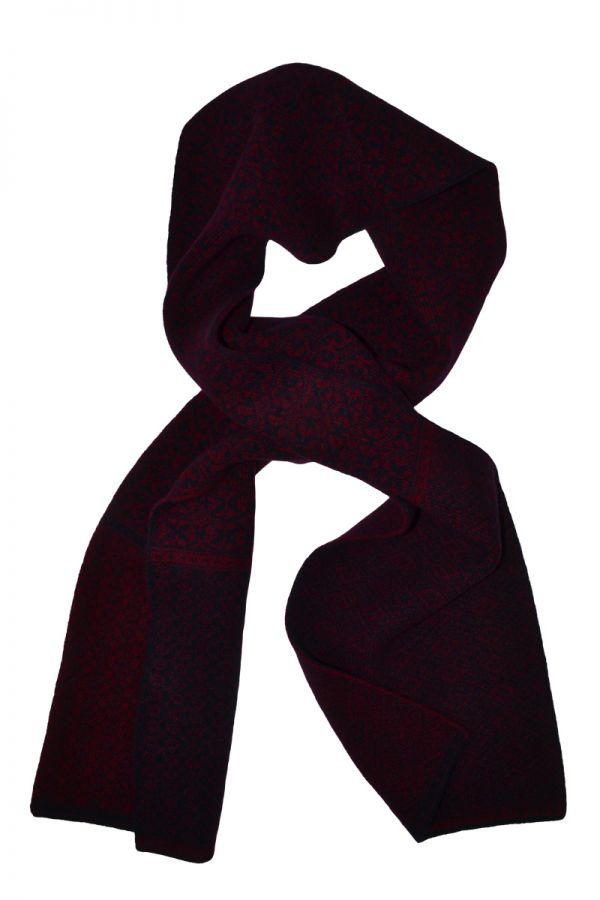 Rubislaw fair isle scarf in navy and burgundy