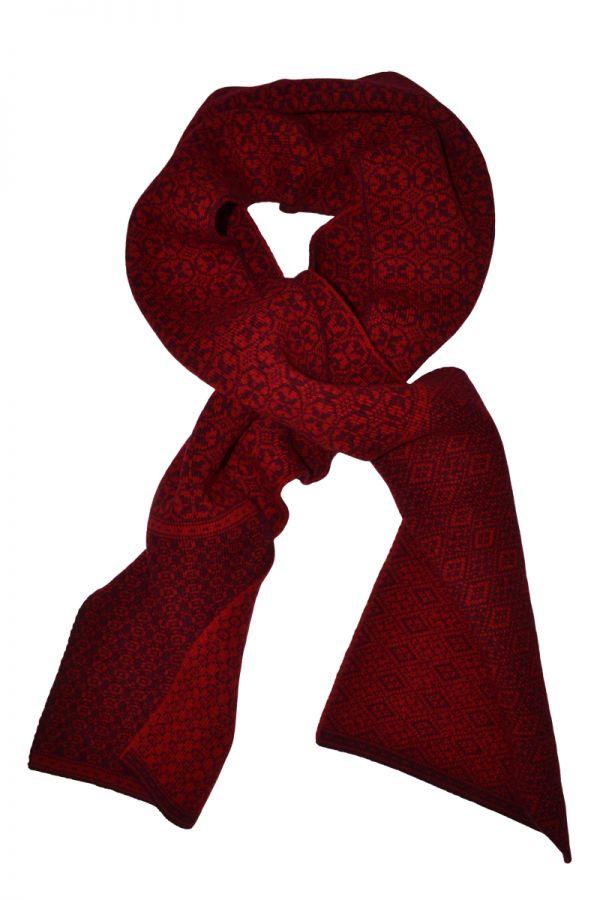 Rubislaw fair isle scarf in scarlet red
