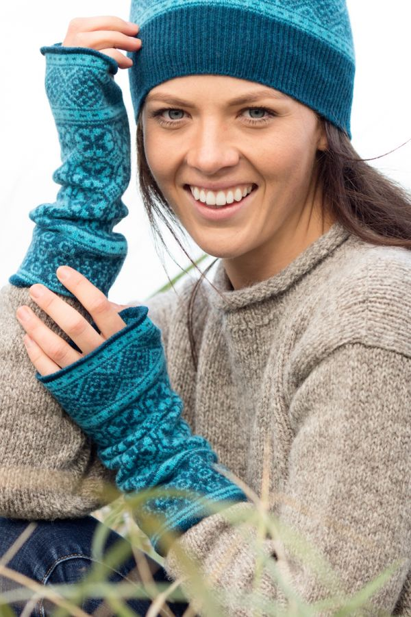 Rubislaw Fair isle wrist warmer fingerless gloves - Navy