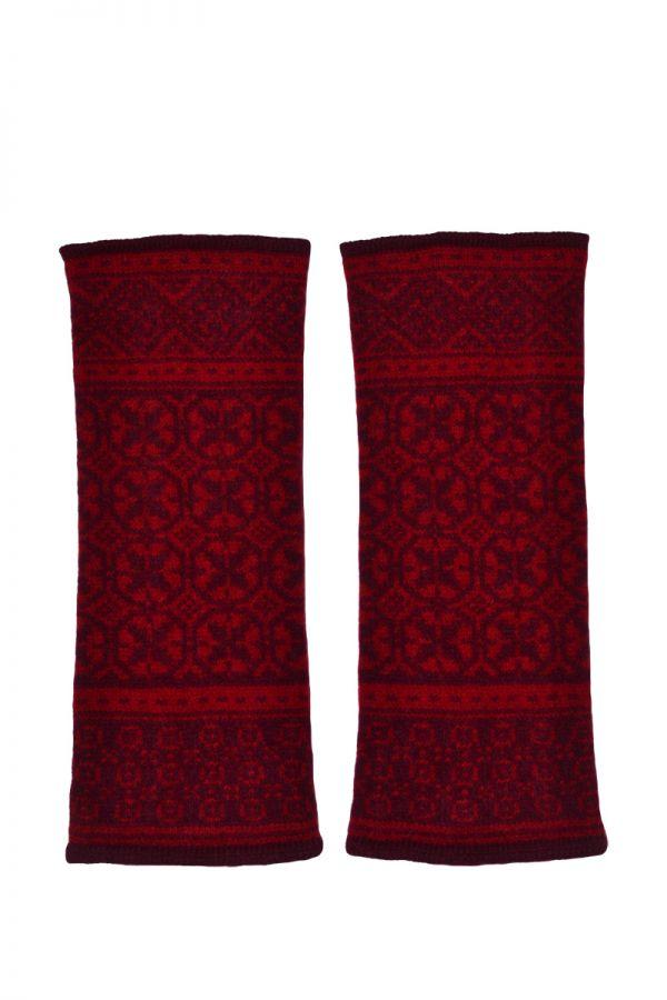 Rubislaw fair isle wrist warmer fingerless gloves scarlet burgundy red