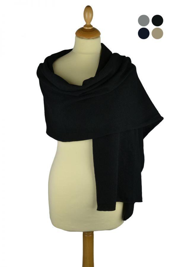Scottish cashmere plain knitted stole