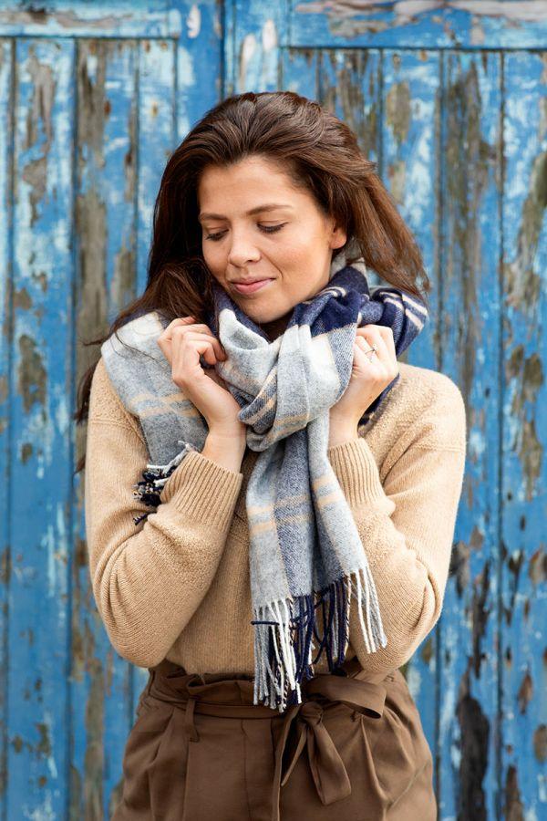 Silver Bannockbane blanket scarf lambs wool. grey, camel, navy, blue