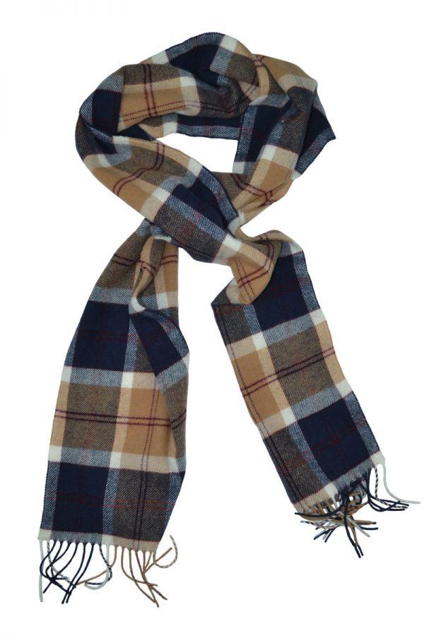 Tartan scarf. Navy Bannockbane Scottish lambswool