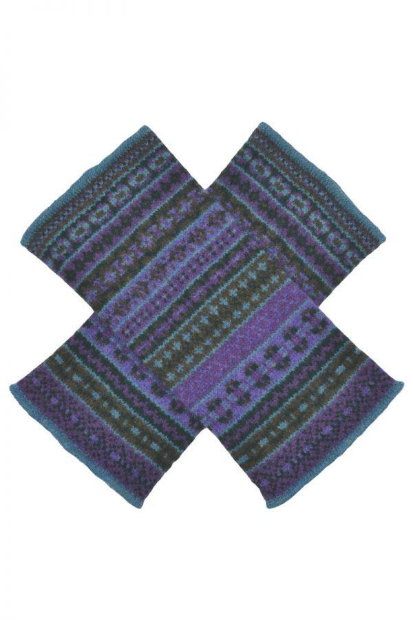 Fair isle wrist warmer gloves. Purple Green. lambs wool. gauntlet wristlet