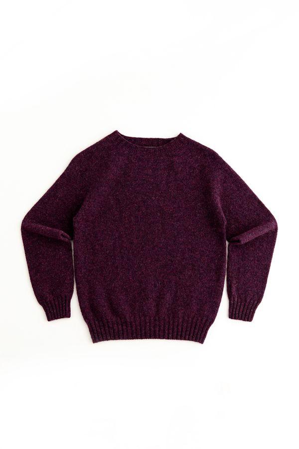 womens aubergine purple wool jumper sweater shetland saddle shoulder