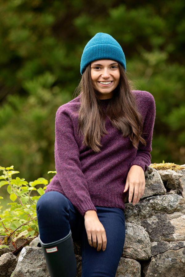 womens aubergine purple wool jumper sweater shetland saddle shoulder eggplant