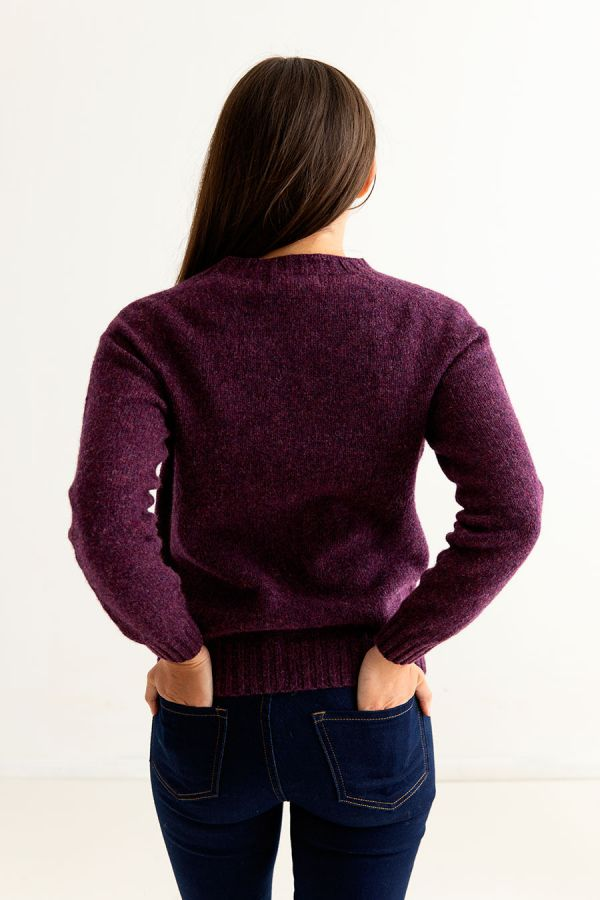 womens shetland wool jumper sweater aubergine saddle shoulder back