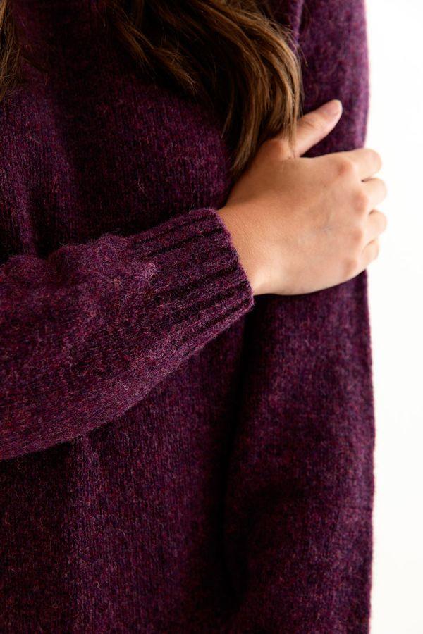 womens shetland wool jumper sweater aubergine plum wine eggplant close up