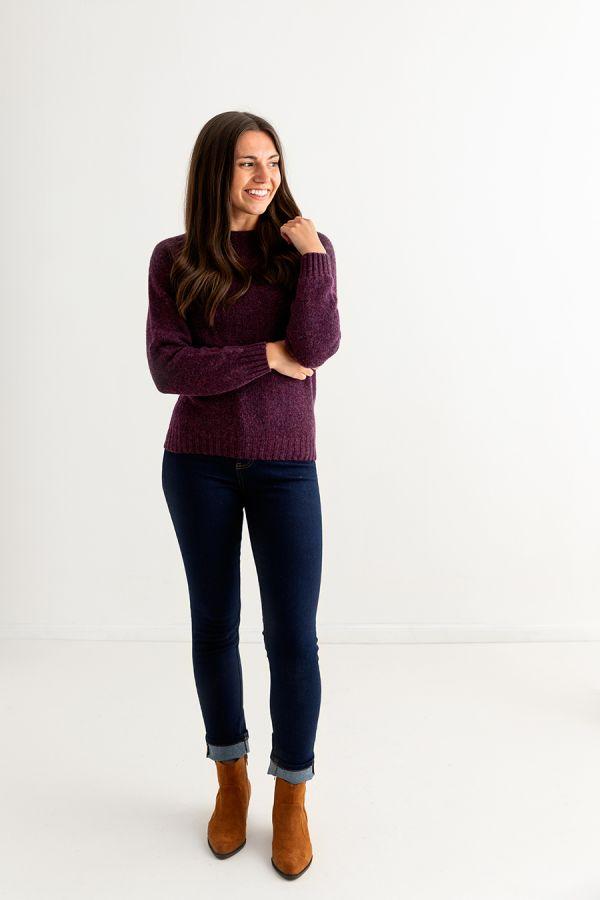 womens aubergine wool jumper sweater shetland saddle shoulder full