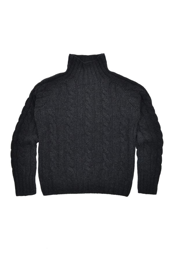 womens charcoal grey cable mock turtle neck jumper sweater chunky lambs wool
