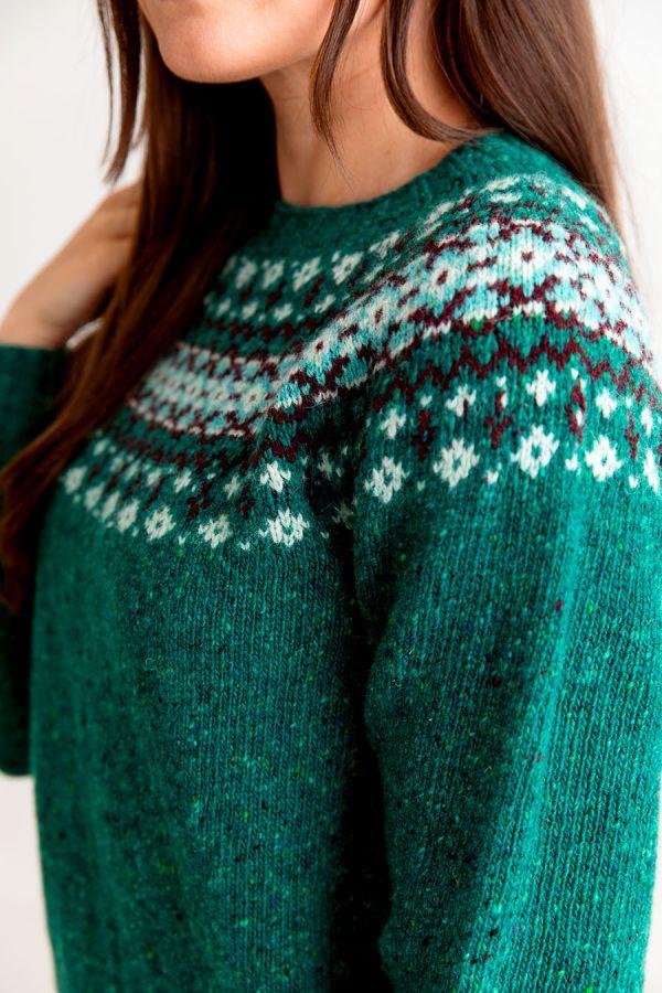 womens donegal wool fair isle jumper sweater jade green croft yoke