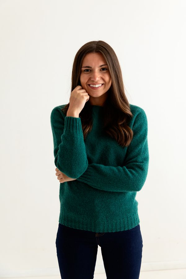 womens emerald green shetland wool jumper sweater saddle shoulder ladies front