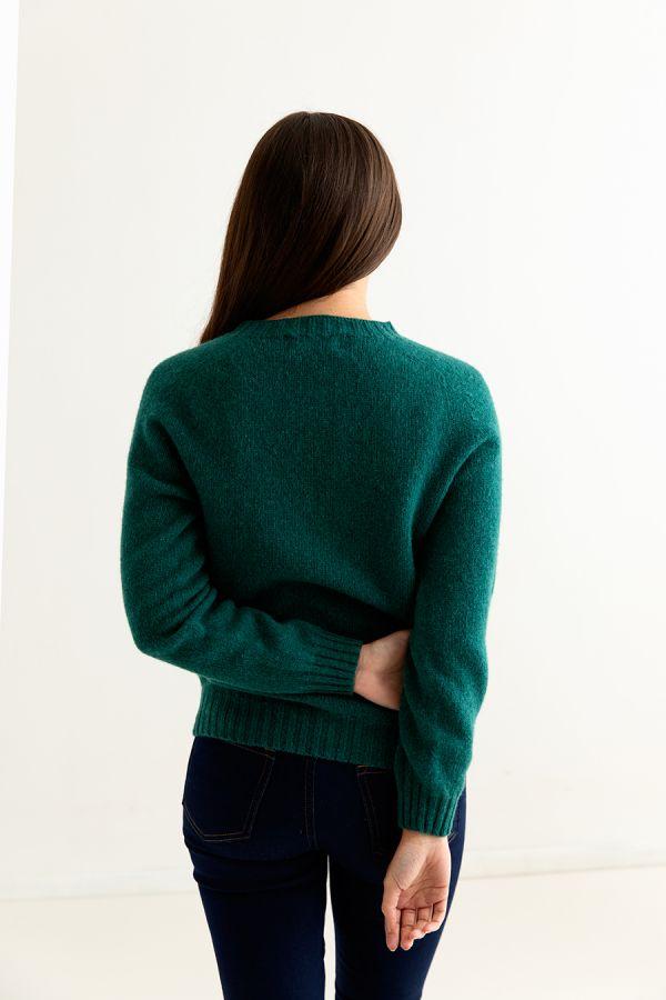 ladies emerald green shetland wool jumper sweater saddle shoulder back