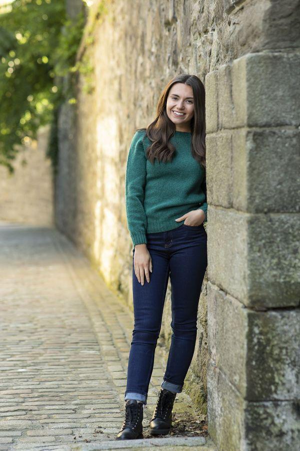 womens emerald green wool jumper sweater shetland saddle shoulder ls