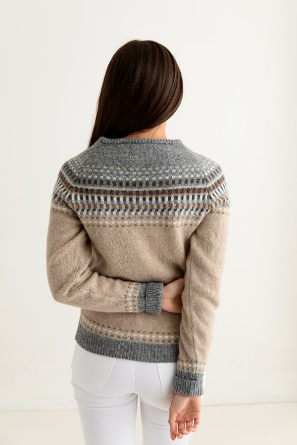 womens beige sand fair isle cardigan wool building blocks back