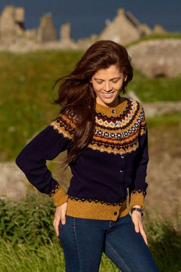 Womens navy wool fair isle cardigan crathie