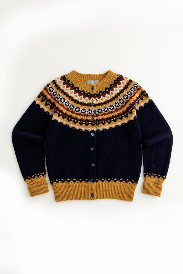 womens fair isle cardigan navy blue mustard wool crathie