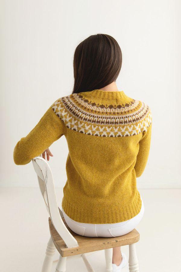 womens fair isle jumper sweater mustard yellow wool lido back