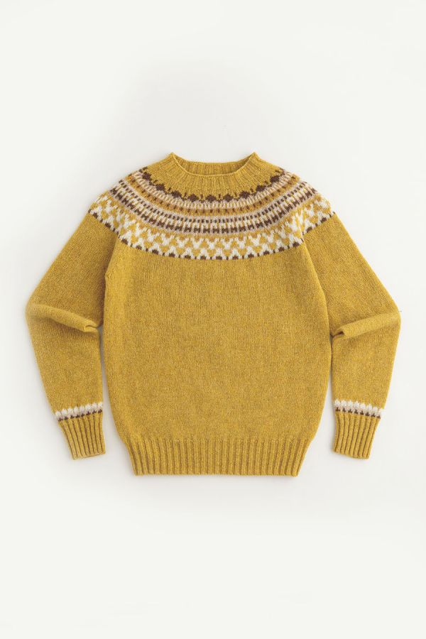 womens fair isle jumper sweater yellow mustard wool lido yoke